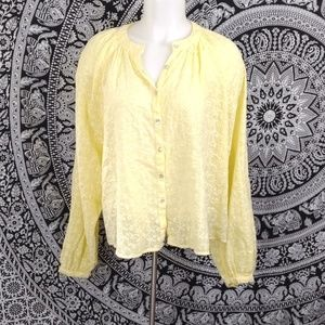 Free People oversized button floral blouse xs
